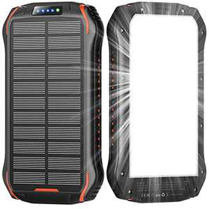 Solar Charger 26800mAh, Solar Power Bank with LED Flashlight and 3 USB Output Ports External Battery Pack for Camping Outdoor Solar Phone Charger for iPhone,Android,Cell Phones