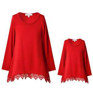 Mommy and Me Matching Set Long Sleeve Tunic Top for Women Swing Lace Blouses Red XXL