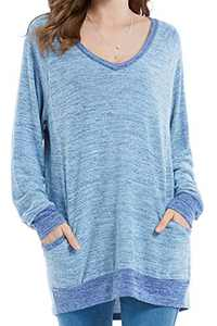Womens Soft Color Block Casual Long Sleeve V Neck Pocket T Shirts Blouses Sweatshirts Tops (Blue,S)
