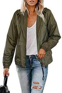 TECREW Women Full Zip Running Track Jackets Lightweight Packable Hooded Raincoat Outdoor Windbreaker
