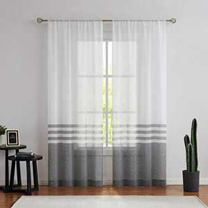 West Lake Stripe Sheer Curtain Panels Color Block Farmhouse Window Drapery Sets Colorblock for Bedroom, Balcony, Living Room, Rustic Rod Pocket Design, 40 x 63 inch, 2 Panels, Black and White