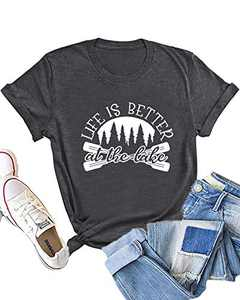 Dauocie Womens Life is Better at The Lake Letter Print Short Sleeve T Shirt Casual Novelty Graphic Tees Tops