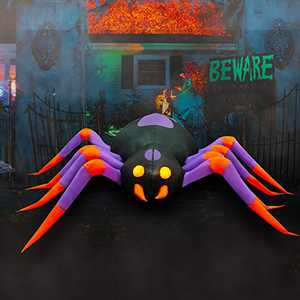 SEASONBLOW 8 Ft LED Light Halloween Inflatable Spider Red Eye Decoration Decor for Home Yard Lawn Garden Home Party Indoor Outdoor