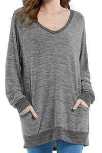 Womens Soft Color Block Casual Long Sleeve V Neck Pocket T Shirts Blouses Sweatshirts Tops (Grey,S)