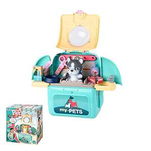 allcaca Pet Care Playset Set, Pet Veterinarian Playset with Backpack Pretend Play Toys for Kids, School Classroom and Doctor Roleplay Costume Dress-Up