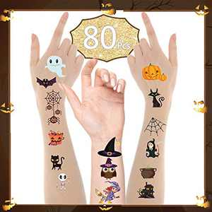 Halloween Temporary Tattoos for Kids, Convolum Halloween Decorations Cartoon Theme Tattoos Stickers for Children Boys Girls Kids Halloween Birthday Party