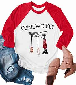 UNIQUEONE Come We Fly Halloween T-Shirt Women 3/4 Sleeve Baseball Shirts Red