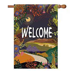 chokeberry Fall Garden Flag for Outside - Hello Fall Field Garden Flag Vertical Double Sided, Seasonal Autumn Vintage Rustic Yard Outdoor Decoration, Fall Small Garden Flag 12.5 x 18 Inch