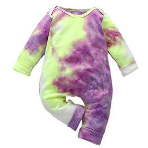 Baby Boys Girls Long Sleeve Ribbed Tie Dye Romper Knit Cotton One-Piece Jumpsuit Fall Clothes(B Purple,6-12 Months)