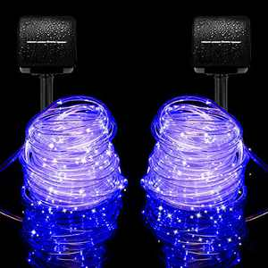 Outdoor Solar String Lights, Solar Powered Fairy Lights with 8 Lighting Modes 2 Pack 33 Feet 100 Led Waterproof Decoration Copper Wire Lights for Patio Yard Trees Christmas Wedding Party (Blue)