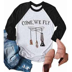 UNIQUEONE Come We Fly Halloween T-Shirt Women 3/4 Sleeve Baseball Shirts Grey