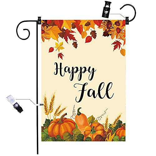chokeberry Fall Garden Flag for Outside - Hello Fall Maple Leaf Garden Flag Vertical Double Sided, Seasonal Autumn Vintage Rustic Yard Outdoor Decoration, Fall Small Garden Flag 12.5 x 18 Inch