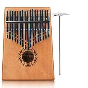BestFire Kalimba Thumb Piano 17 Keys Finger Piano Fingers Portable Mbira Sanza African Wood Finger Piano, Hand Piano with Study Instruction and Tune Hammer for Kids Adult Beginners Professional