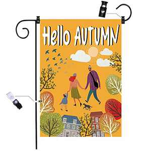 chokeberry Fall Garden Flag for Outside - Hello Fall Outing Garden Flag Vertical Double Sided, Seasonal Autumn Vintage Rustic Yard Outdoor Decoration, Fall Big Garden Flag 28 x 40 Inch