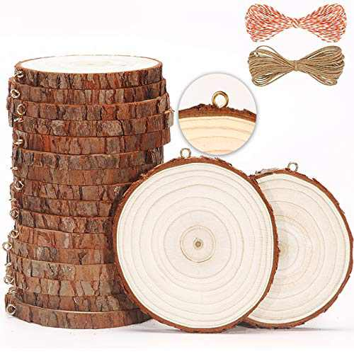 SENMUT Natural Wood Slices 20 Pcs 3.5-4 Inch Wooden Circles Crafts Wood Coaster Christmas Ornaments Unfinished Wood Rounds for Crafts and DIY Arts Wood Kit PreInstalled with Small Eye Screws