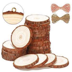 SENMUT Natural Wood Slices 25 Pcs 3.0-3.5 Inch Wooden Circles Crafts Wood Coaster Christmas Ornaments Unfinished Wood Rounds for Crafts and DIY Arts Wood Kit Pre-Installed with Small Eye Screws