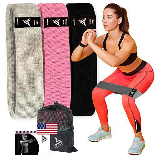 Spearlnc 3 Pack Non-Slip Fabric Resistance Bands for Legs and Butt, Booty Bands for Women and Men