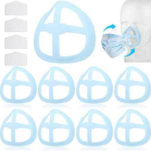 20 Pieces Nose Pads Lipstick Protection Bracket Internal Protective Support Bracket 3D Face Nose Mouth Bracket with 20 Pieces Hook and Loop to Increase Breathing Space Help Breathe Smoothly (Blue)