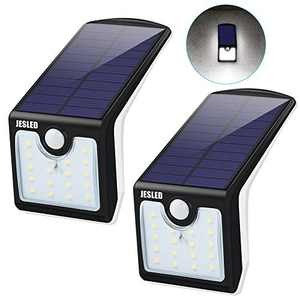 JESLED Solar Motion Sensor LED Lights Outdoor with Back Lighting, Wireless Solar Powered Security Light with 2 Modes, Super Bright 36 LED Waterproof Wall Lamp for Garden Patio Yard Deck Fence 2 Pack