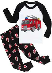 Children Fire Trucks Pajamas Boys Cool Sleepwear Todler Kids Cotton Pjs Girls Set Size 7