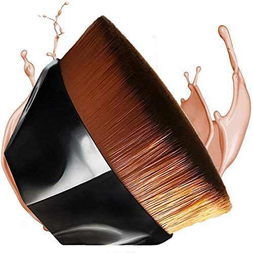 Flawless Foundation Brush for Liquid Makeup,Kabuki Blending Makeup Brush with Travel Case,BobiBron Flat Top Petal Shaped Base Makeup Brush (Black)