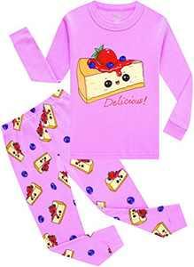 Baby Girls Christmas Pajamas Toddler Kids Cake Jammies Children Long Sleeve Pjs Cotton Sleepwear Size 5