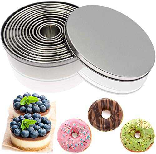 Cookie Biscuit Cutter Set - ANUNU 12 PCS Round Stainless Steel Cookie Mold Professional Baking Dough Tools for Donut Fondant Muffins Meat Pies