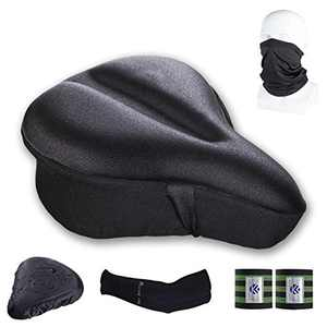 KOUKA Bike Seat Cushion Cover - Bike Accessories Seat Cushion for Women Comfort - Soft Bicycle Saddle Case with Reflective Band, Bandanas, Sun Protection Sleeve