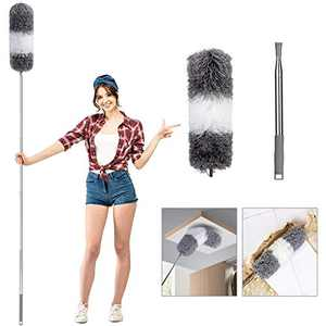 Microfiber Duster for Cleaning with Extension Pole(30-100 inches), Flexible and Extendable Duster Tool for Cleaning Ceiling Fan/Furniture/Blinds/Cobweb/Cars