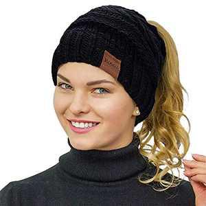 Rosoz Ponytail Beanie for Women,Winter Warm Beanie Tail Soft Stretch Cable Knit Messy High Bun Hat Black