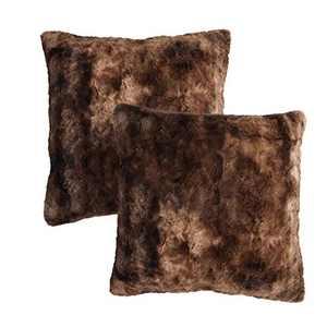 "softan Luxury Faux Fur Throw Pillow Cover, Decorative Plush Minky Fleece Cushion Case, Super Soft Fluffy Plush Pillowcase with Non-Slip Zipper, 18""×18"", Brown, 2 Pack"