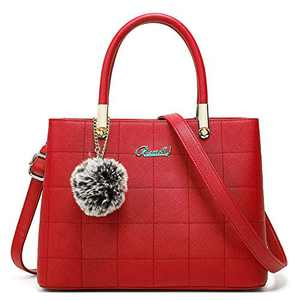 Purses and Handbags for Women Leather Top-handle Totes Satchel Shoulder Bag for Ladies with Pompon (Red)
