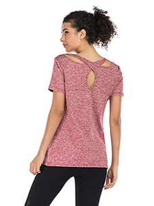 Anna-Kaci Short Sleeve Round Neck Criss Cross Back Athletic Yoga Shirt Workout Tops for Women, Brick Red, Small