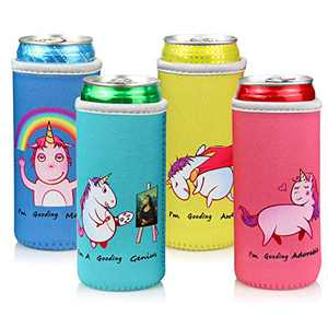 Slim Can Cooler Sleeves (4 Pack) for 12 Oz Drinks and Beers, Skinny Can Coolies for White Claw and Michelob Ultra Cans, Soft Thick Neoprene Beer Can Coolers Sleeves, Party Essentials Xmas Gag Gifts