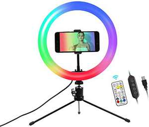 """10.2"""" Ring Light with Stand and Phone Holder LTRINGYS Makeup LED Ring Light with 26 RGB Flash Colors Dimmable Desktop Ring Light with Wireless Remote Control for Streaming (Colorful)"""
