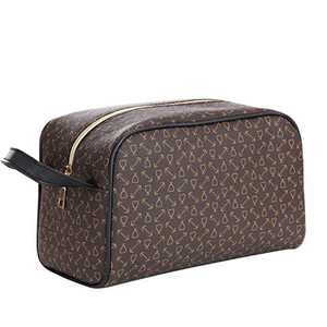 OXYTRA Toiletry Organizer Wash Bag Travel Hanging Dopp Kit for Men,PU Leather Cosmetic Bag Makeup Bag for Women Girls (Brown)