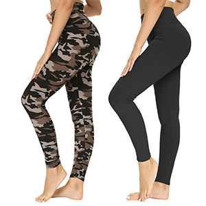 TNNZEET 2 Pack Printed Leggings for Women – Black Plus Camouflage Leopard Prints