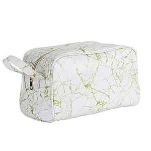 OXYTRA Toiletry Organizer Wash Bag Travel Hanging Dopp Kit for Men,PU Leather Cosmetic Bag Makeup Bag for Women Girls (Gold Marble)