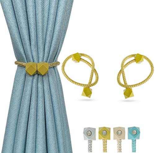 Magnetic Curtain Tiebacks, 2 Pack European Style Curtain Clips,16 inch Curtain Holdbacks Convenient Window Curtain Tie Drapery Curtain Buckle for Sheer Curtains & Blackout Curtains, No Tools Needed