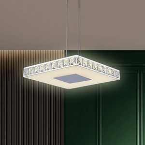 Galtlap Modern Led Chandelier 14'' Flush Mount Ceiling Light Crystal Lighting 18W Square Adjustable Pendant Light for Bedrooms Dinning Rooms Hallway (Warm)