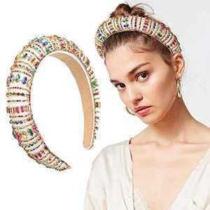 Rhinestone Headband for Women Bejewelled Diamond Padded Hairband Bridal Elegant Wedding Wide Hair Hoop For Women and Girl