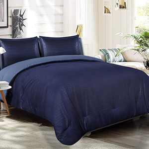 EMME Comforter Set Queen (90''x90'') 3-Piece Down Alternative Bedding Duvet Insert All Season Ultra Soft and Comfortable of Microfiber Filling (Navy & Blue)