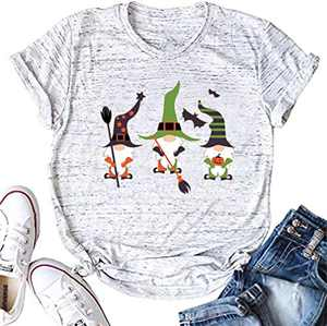 HDLTE Sanderson Sister Halloween Tshirt Women Basic Witches Letter Print Tees Causal Short Sleeve Tops (A-Grey, L)
