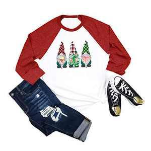 Womens Cute Elves Printed Graphic Tee Shirt 3/4 Sleeve Splicing Baseball Tops(Red,XL)