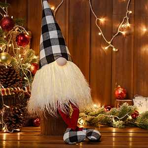 Easter Lights Gnome 2021 Ornaments, Christmas Black and White Plaid Buffalo Swedish Long Legs, Home Holiday Decorations Thanksgiving Day Gift 27.6 inch