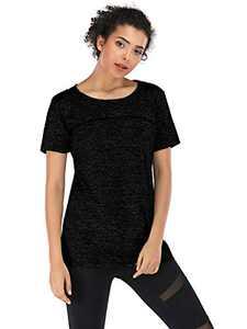 Anna-Kaci Women's Short Sleeve Yoga Activewear Cross Back Running Shirts Top, Black, Large