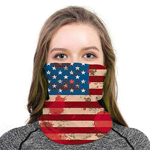 AKUDY Seamless Face Covering Mouth Mask Scarf Bandanas Neck Gaiter - Dust & UV Sun-Protection for Festivals and Outdoors (American Flag)