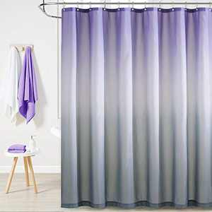 KGORGE Bath Shower Curtain Waterproof - Farmhouse Shower Curtains Liner Bathroom Privacy Morden Room Decor Office Hooks Included, 72 Wide x 72 Long, Purple and Grey