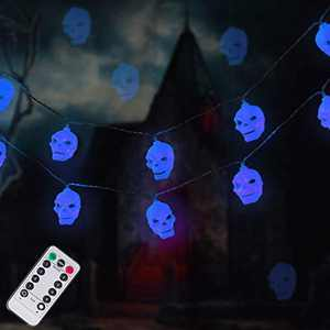 LUMINATERY Halloween Skull Lantern String Lights, 30LED 8 Lighting Modes, Remote Control, Battery-Powered, Perfect for Indoor Outdoor Halloween Decoration (Blue)