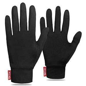 SKDK Outdoor Winter Gloves Running Gloves Touchscreen Gloves Windproof Warm for Men Women Hiking Cycling Running Sports (Black-Thin, L)